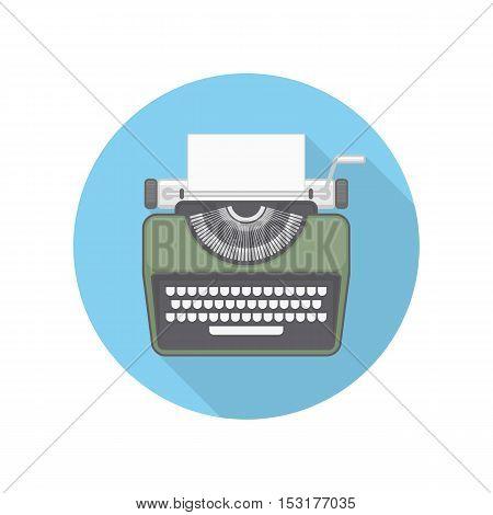 Typewriter icon. Flat color design. Vector illustration