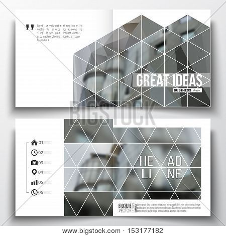 Vector set of square design brochure template. Polygonal background, blurred image, urban landscape, modern stylish triangular vector texture.