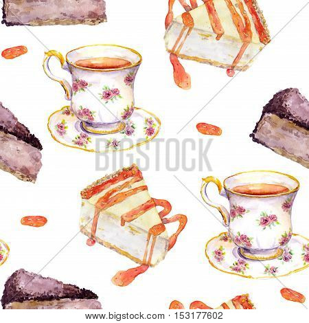 Seamless tea time pattern - tea cup, cakes, chocolate cheese cake. Watercolor