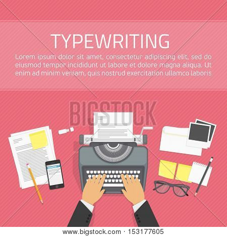 Workplace with typewriter in top view. Writing a blog, text development tools. Vector illustration in flat style. Working process and author modern workplace. Background for promotion and blogging.