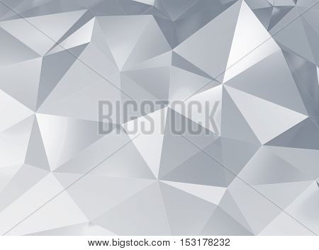 3d illustration of beautiful geometric three dimensional metal silver abstract in studio