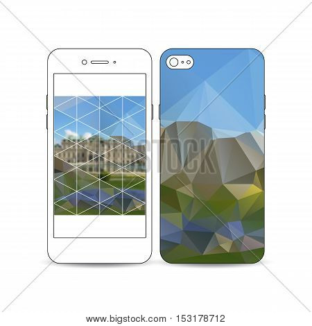 Mobile smartphone with an example of the screen and cover design isolated on white background. Polygonal background, blurred image, park landscape, modern stylish vector texture.