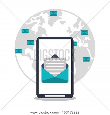 Smartphone planet and envelope icon. Social media marketing communication theme. Colorful design. Vector illustration