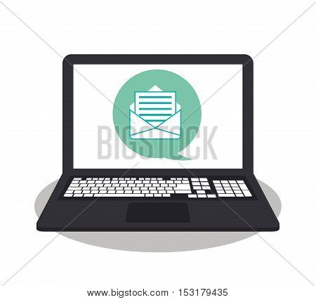 Laptop envelope and bubble icon. Social media marketing communication theme. Colorful design. Vector illustration