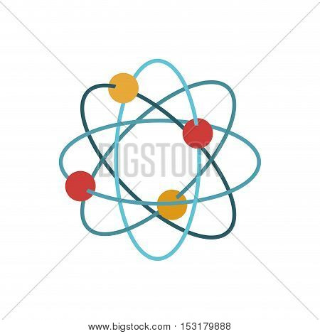 Multicolored atom icon. Science laboratory and chemistry theme. Colorful design. Vector illustration