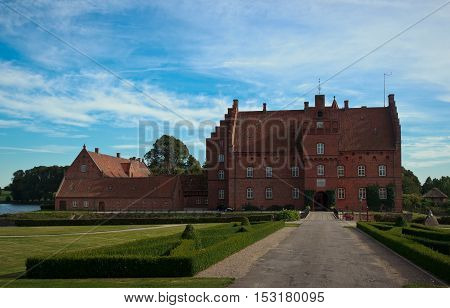 Beautiful Gisselfeld park palace and cloister, Denmark