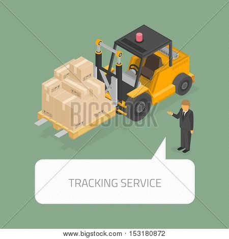 Isometric forklift loading pallets with boxes. Cargo Industry tracking service concept. Vector 3d style. Isometry warehouse sideloader truck infographic template.
