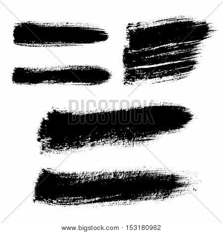 Vector hand painted set isolated grunge black paint brush splash. Ink grunge shapes. Watercolor brush stroke. Graphic stain. Stamp.