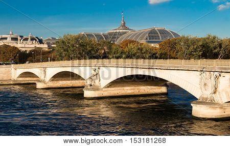 The pont des Invalides is the lowest bridge traversing the Seine in Paris France.