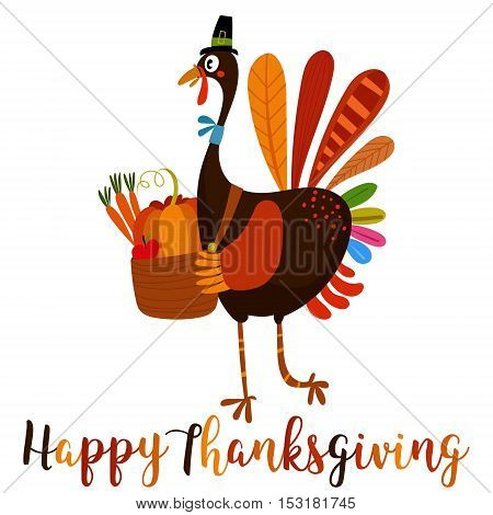 Happy Thanksgiving Day. Greeting  Card With Cartoon Turkey In Autumn Colors.  - Stock Vector