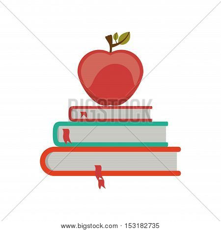 Book and red apple  icon. literature education and learning theme. Isolated design. Vector illustration