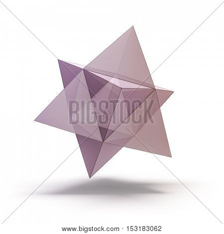 3d abstract glass shape on white background