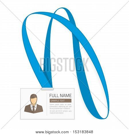 Id card for businessman. Vector illustration in Flat style. Lanyard, name tag holder end badge templates with photo.