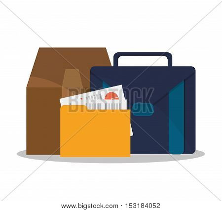Suitcase file and box icon. Business supplies management and workforce and theme. Colorful design. Vector illustration