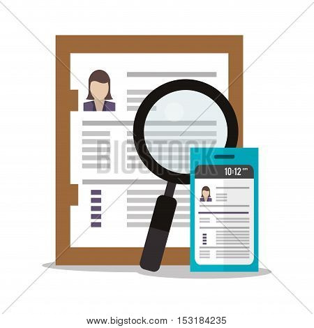 Document lupe and smartphone icon. Human resources search employee and business theme. Colorful design. Vector illustration