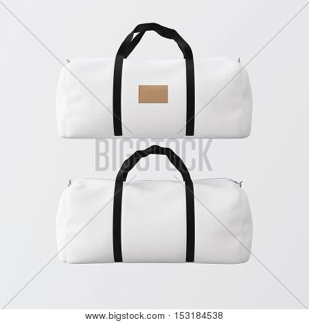 Sport fashion white bag with black handles isolated at clean background.Highly detailed texture materials in square photo.Empty mockup label on the front side.Double sided mock up.3D rendering.