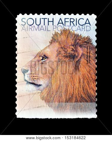 SOUTH AFRICA - CIRCA 2010 : Cancelled postage stamp printed by South Africa, that shows Lion.
