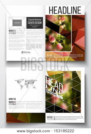 Set of business templates for brochure, magazine, flyer, booklet or annual report. Colorful polygonal floral background, blurred image, pink flowers on green, modern triangular texture.