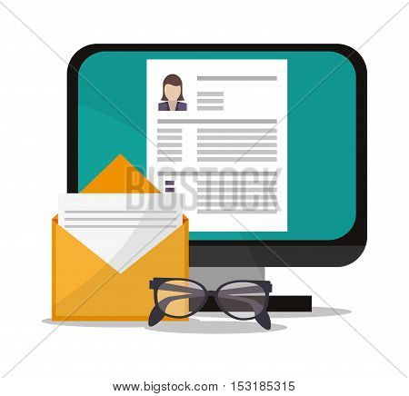 Document computer and glasses icon. Human resources search employee and business theme. Colorful design. Vector illustration