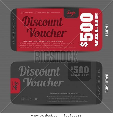 Stylish discount voucher vector illustration to increase sales on the dark red and gray background.