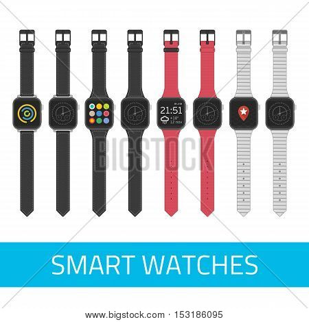 Set of Smart watches wearable collection computer. Vector digital watch with watch app and clock face.