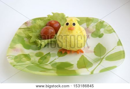 the chicken is made of rice. Creative food for good mood and appetite