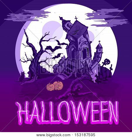 Halloween poster with castle, tree and zombie. Vector illustration