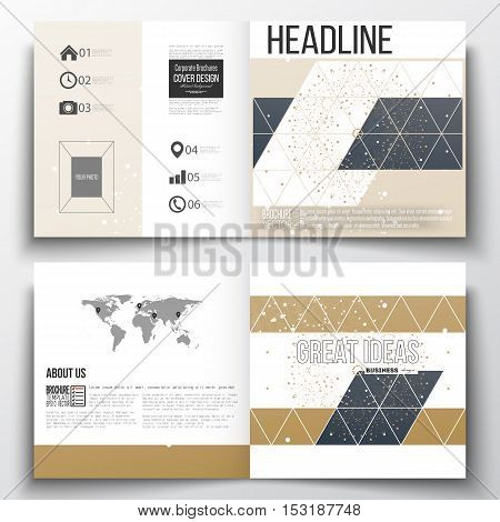 Vector set of square design brochure template. Abstract polygonal low poly backdrop with connecting dots and lines, golden background, connection structure. Digital or science vector
