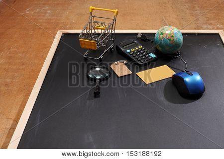 shopping tools on top of blackboard