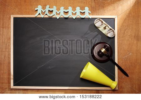 gavel hammer,people link and megaphone on the blackboard
