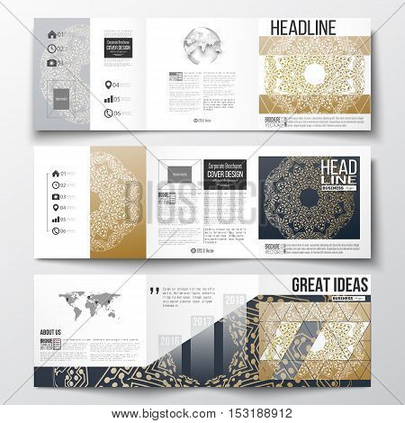Set of tri-fold brochures, square design templates with element of world map and globe. Golden microchip pattern, connecting dots and lines, connection structure. Digital scientific background