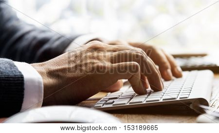 Businessman Typing Working Keyboard Laptop Concept