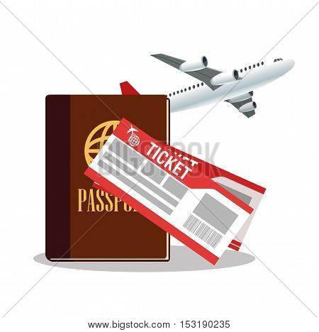 Passport airplane and tickets icon. Travel trip vacation and tourism theme. Colorful design. Vector illustration