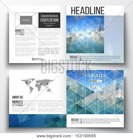 Set of square design brochure template. Abstract blue polygonal background, colorful backdrop, modern stylish vector texture.