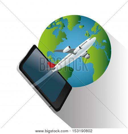 Smartphone airplane and planet icon. Travel trip vacation and tourism theme. Colorful design. Vector illustration
