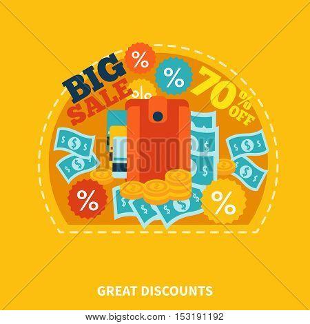 Online shop colorful round composition with caption money discount coins symbols on orange background flat vector illustration