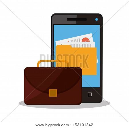 Suitcase smartphone and file icon. Business supplies management and workforce and theme. Colorful design. Vector illustration