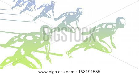 Sports Technology Abstract Concept Background as Art 3D Illustration Render
