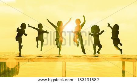 Kids Having Fun and Playing by the Beach 3D Illustration Render