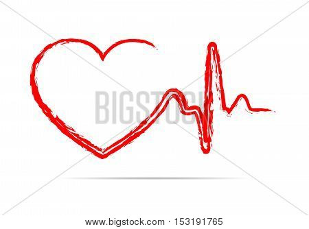 Red heart icon with sign heartbeat. Vector illustration. Heart sign in flat design.