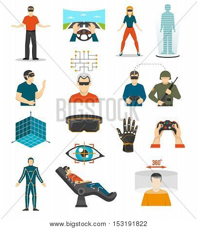 Virtual reality video games icons set with joystick in people hands wired gloves augmented reality glasses isolated vector illustration
