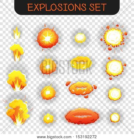 Bright orange and yellowe cartoon explosion effects of different size and shape for flash animation isolated on transparent background vector illustration