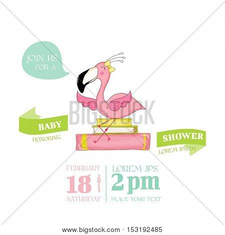Baby Shower or Arrival Card - Baby Flamingo Girl Sitting on Books - in vector