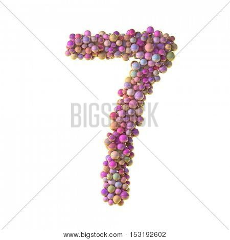 bubbles numbers 7, seven, 3d illustration