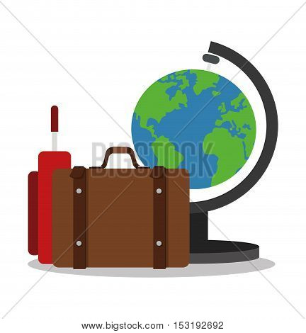 Suitcase and planet icon. Travel trip vacation and tourism theme. Colorful design. Vector illustration