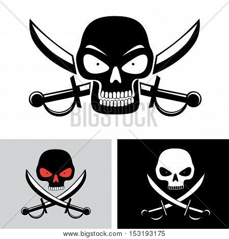 Simple illustration of pirate skull with red eyes and sabers on background isolated on white. Pirate, piracy symbol
