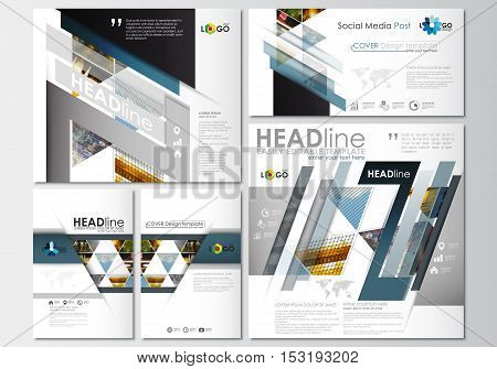 Social media posts set. Business templates. Cover design template, easy editable, abstract flat layouts in popular formats. Abstract multicolored background of nature landscapes, geometric triangular style, vector illustration