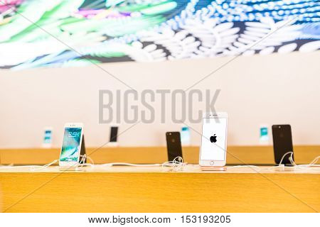 RIMINI ITALY - October 3 2016: New iPhone 7 Plus models on display inside Apple store located in a shopping center on Via Caduti di Nassiriya Rimini ITALY.