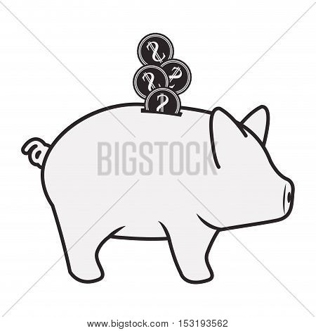 piggy moneybox icon silhouette over white background. vector illustration