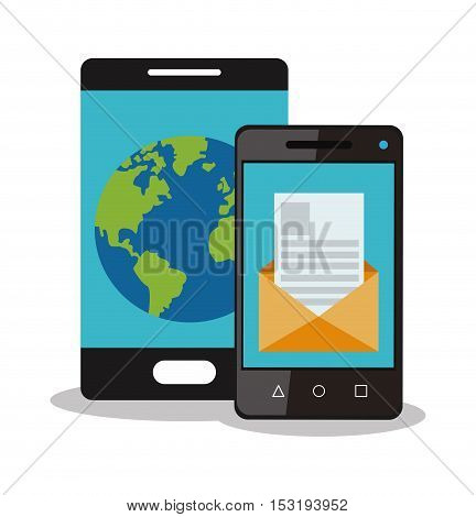 Smartphone envelope and planet icon. Social media marketing communication theme. Colorful design. Vector illustration